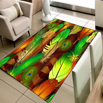 Else Orange Green Yellow Brown Bird Feathers 3d Print Non Slip Microfiber Living Room Decorative Modern Washable Area Rug Mat