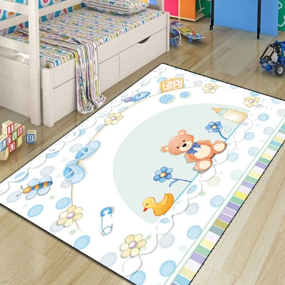 Else Blue Baby Bears Ducks Toys 3d Print Non Slip Microfiber Children Kids Room Decorative Area Rug Kids  Mat