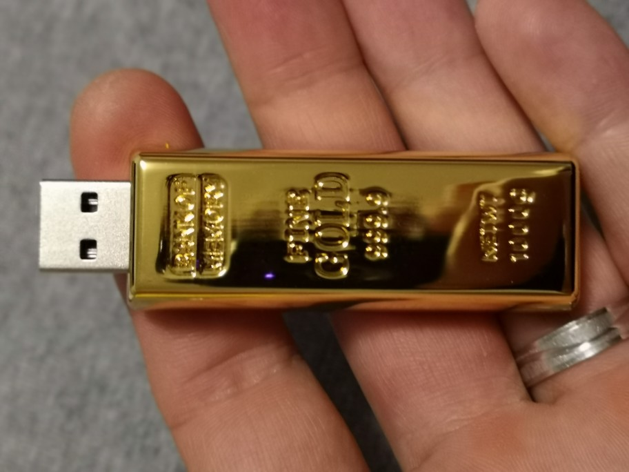Gold Bullion / Bar USB Flash Drive 128GB or 64GB