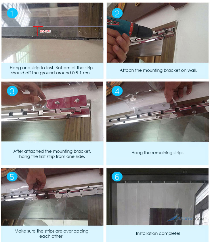 Arrowzoom 1 mm de espesor 4x7 pies habitación almacén puerta congelador plástico aislamiento térmico PVC tira cortina KK1173 - 5