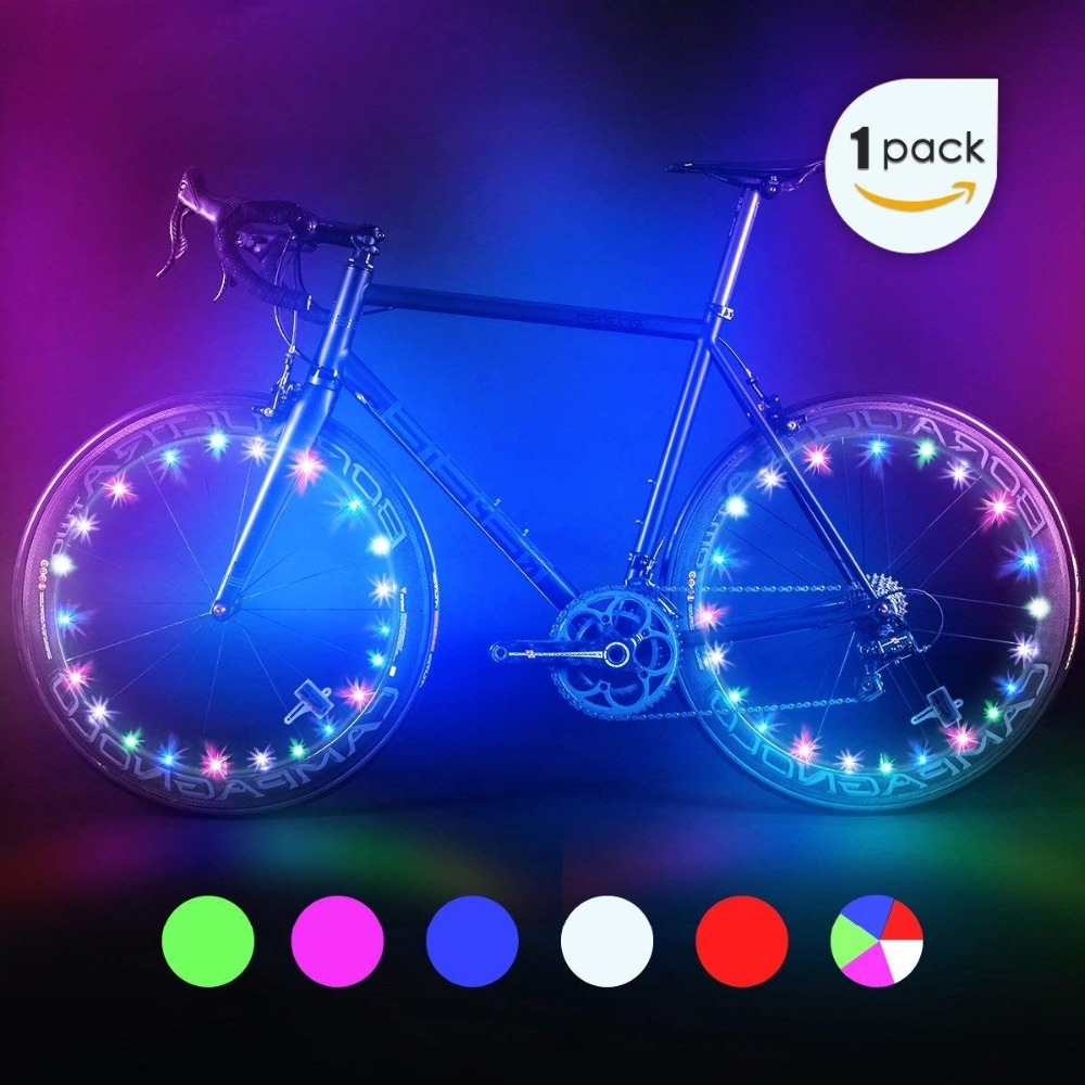 UnvarySam Bike Wheel Lights, Automatic And Manual Lighting, Waterproof Bicycle Wheel Light String, Ultra Bright LED