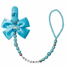 MIYOCAR Any name Bling blue rhinestone bow blueand beads dummy clip holder pacifier clips holder/Teethers
