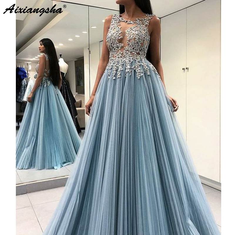 Gorgeous A-Line Evening Party Pleat Chiffon Scoop Sky Blue Open Back Long Formal   Prom     Dress   With Appliques   Prom   Gown 2019