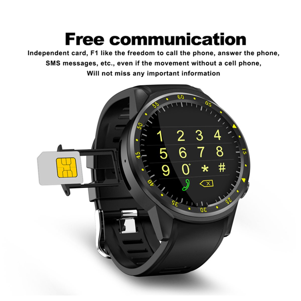 F1 1.3inch 4G Wifi GPS 1G 8G Heart Rate Monitor Pedometer Sport Smart Watch for iphone for Android Phone