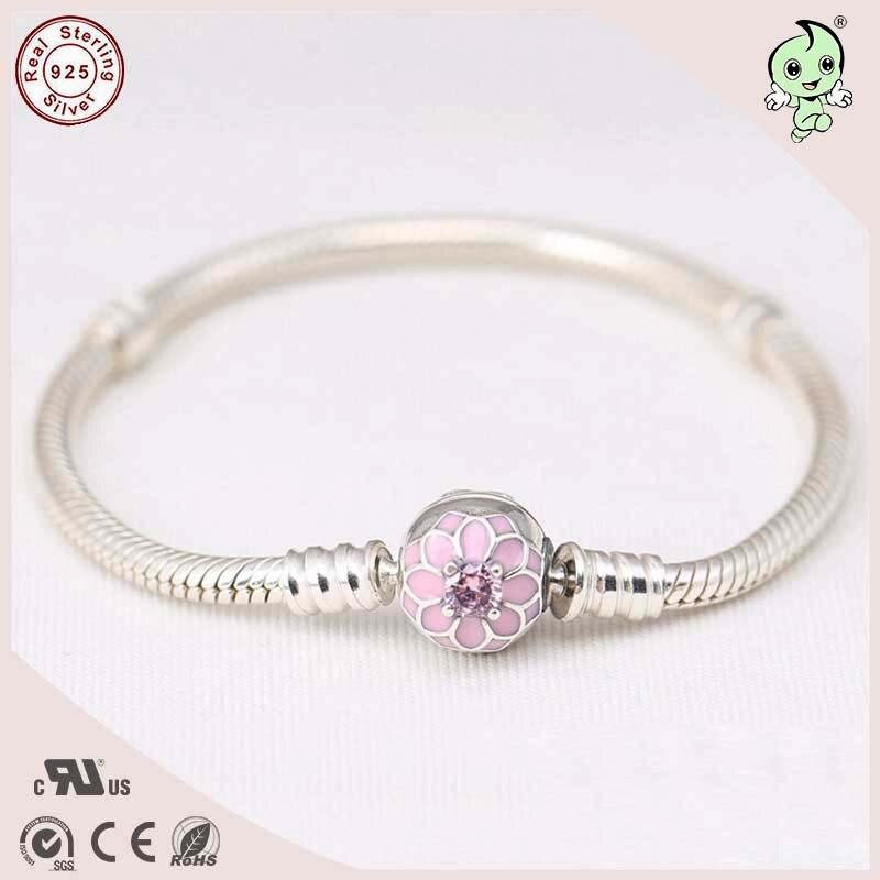 Nouvelle conception de haute qualité européenne célèbre marque conception rose émail Lotus fermoir Clip 925 Bracelet en argent Sterling