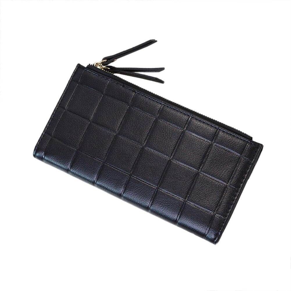 Lady Anti-Theft Lattice Wallet Faux Leather Long Purse Card Holder Handbag