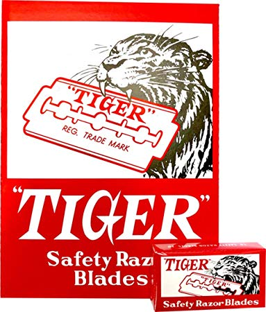 100 Piece Tiger Double Edge Safety Blades Chrome-steel Industry-leather Cut
