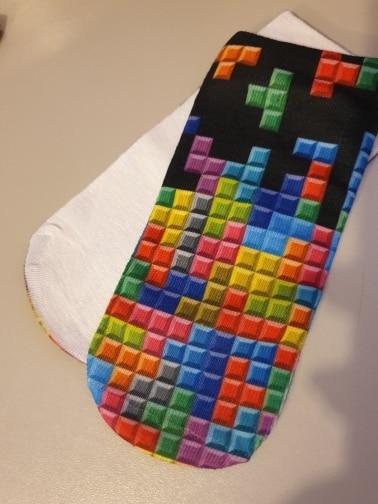 Zohra Winter Tetris 3D Graphic Full Printing Calcetines Sock Women Meias Low Cut Ankle Socks Cotton Hosiery Socks