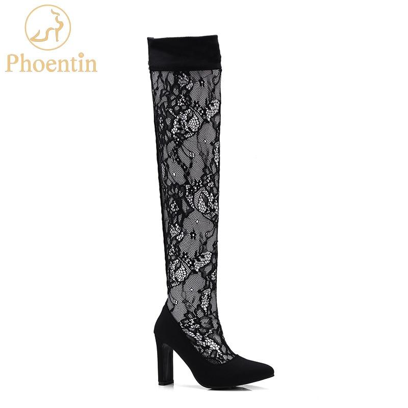 air mesh Woman boots overknee 2018 stretch fabric patchwork long & short summer boots women black high heels pointed toe PH017
