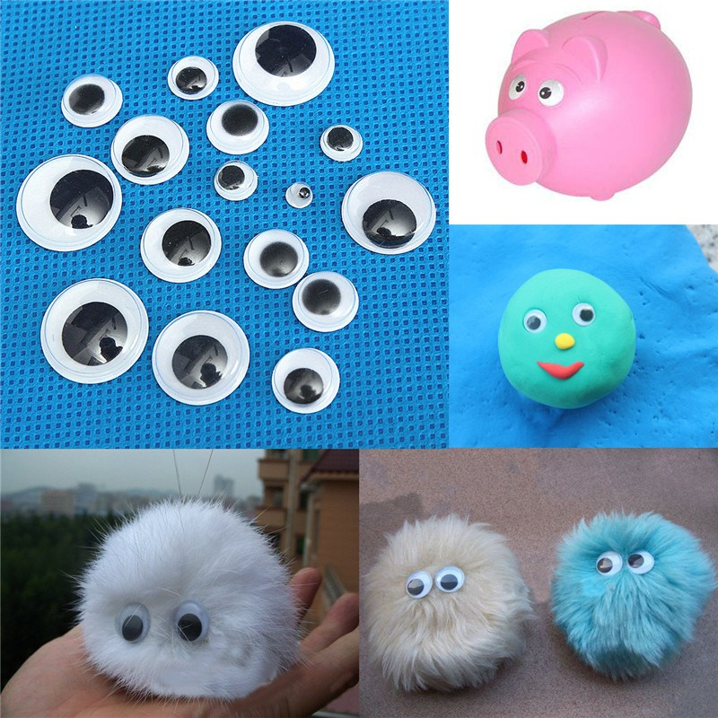 520pcs 5-20mm Acrylic Plastic Black White 3D Dolls Eyes Wiggly Wobbly Googly Self-adhesive Scrapbooking Crafts Mixed Size
