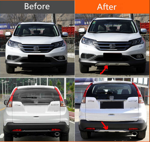 TEAEGG Front&Rear Bumper Skid Protector Plate Trim For Honda CRV CR-V 2012 2013 2014 set j40 black steel different trail front bumper w winch plate