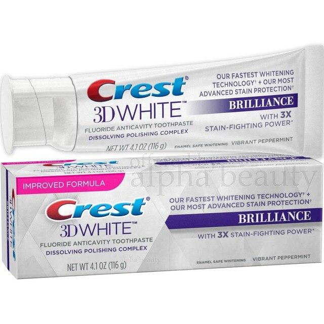 Crest 3D Brilliance เคลือบปลอดภัยฟันไวท์เทนนิ่งยาสีฟันกลิ่น Meinting มิ้นท์ 4.1 Oz