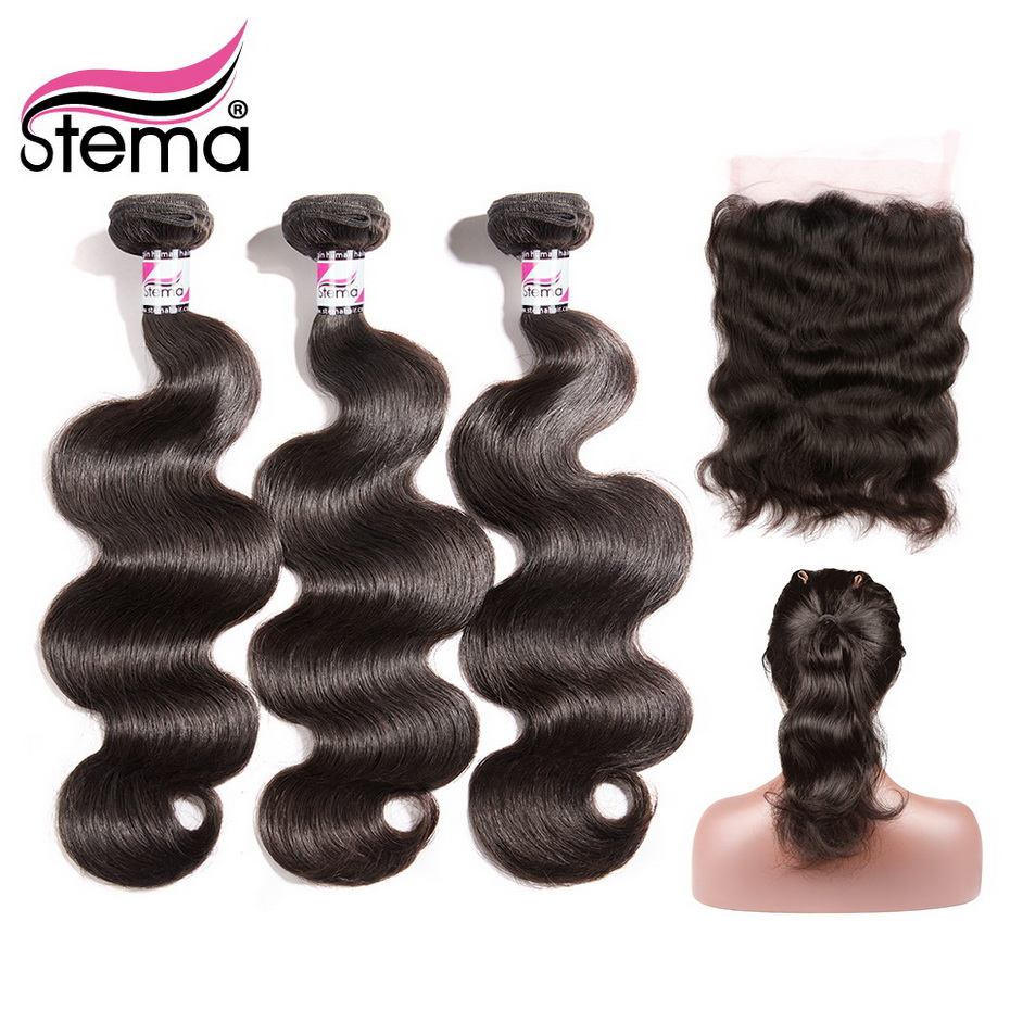 Stema Body Wave 360 Frontal With Bundle Remy Human Hair Brazilian 3 Bundles With 22 5x4