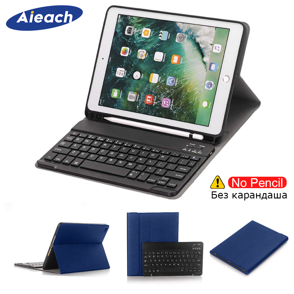 With Wireless Bluetooth Keyboard Case For iPad Air 2 Air 1 9.7 inch With Apple Pencil Holder Smart PU Leather Cover For iPad 5 6