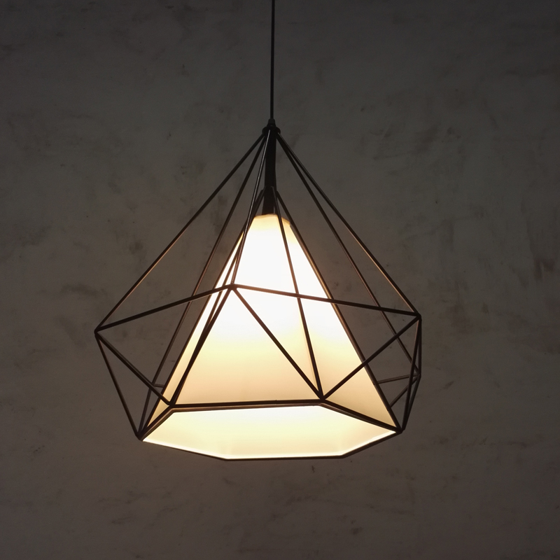 American vintage hexahedral diamond iron pendant light fixture loft DIY home deco dining room E27 bulb fabric pendant lamp norbic creative loft wood wall sconce lamp with switch home deco bedroom iron bell lampshade e27 bulb wall light fixture