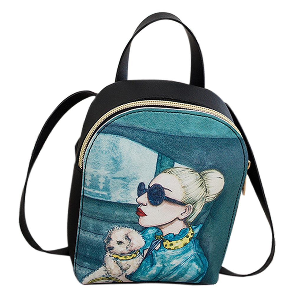 Casual Rucksack Stylish Girl Mini Backpack Preppy Printing Backpacks Floral Print Schoolbag Travel Women Bags Mochila Feminina