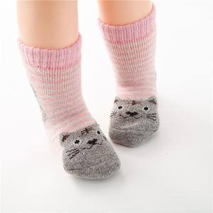 Image 4 - Calcetines de algodón para niños, calcetín con gato Animal, lana gruesa, a rayas, cortos, creativos, suaves y cálidos, para invierno, 2019
