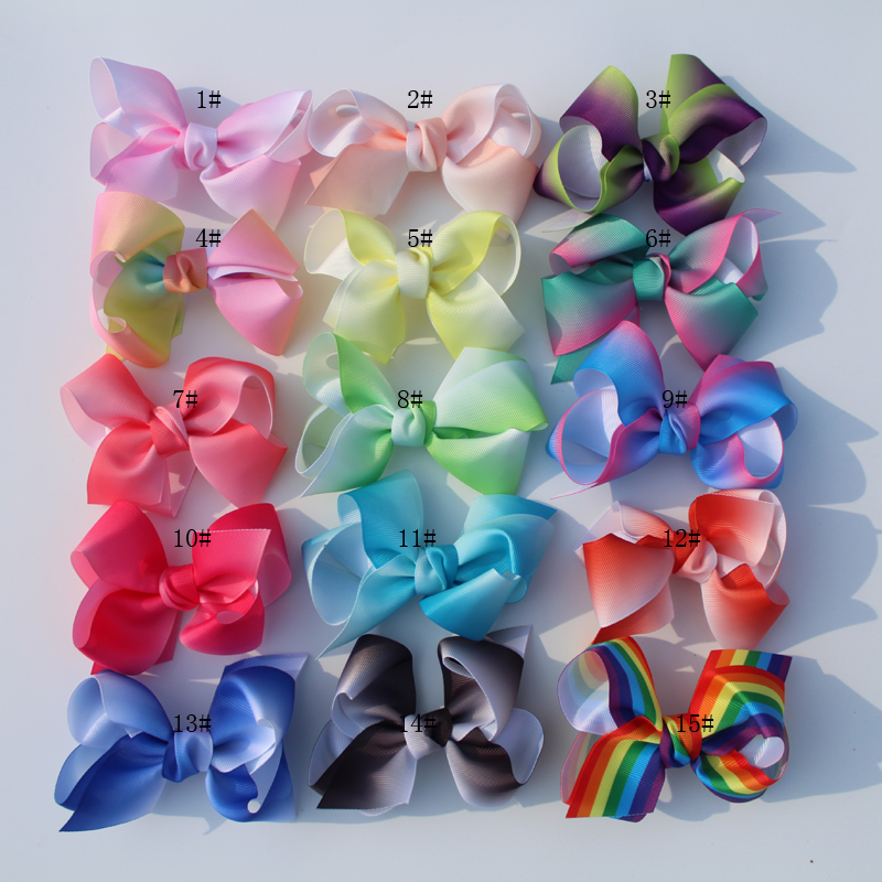 new arrival 16Pcs Little Girls 5 JO JO Grosgrain Ribbon Hair Bows Boutique Rainbows Bows With Alligator Clips Accessories