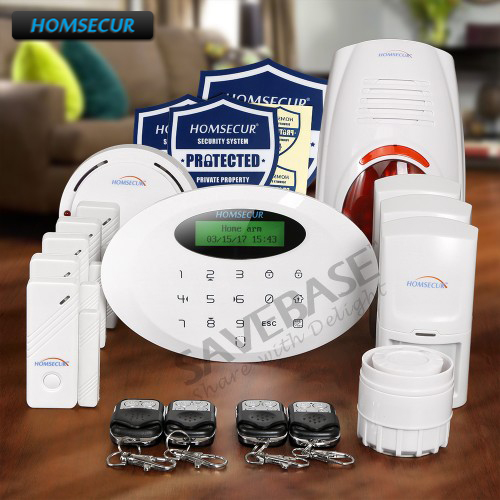 цена на HOMSECUR Wireless GSM Home Alarm System With Self-adhesive Security Sticker M3GB