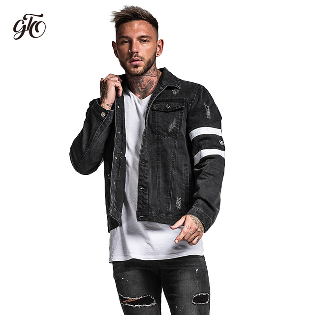 Gingtto Mens Denim Jacket Black Bomber Jacket Jeans Jacket Oversized