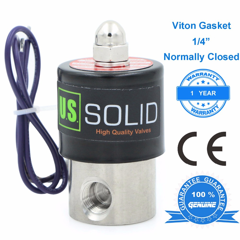 U.S. Solid 1/4 Stainless Steel Electric Solenoid Valve 24 V 12V DC 24V 110V AC, Normally Closed, Air Water Oil u s solid 1 stainless steel electric solenoid valve 110v ac npt thread normally closed water air diesel iso certified