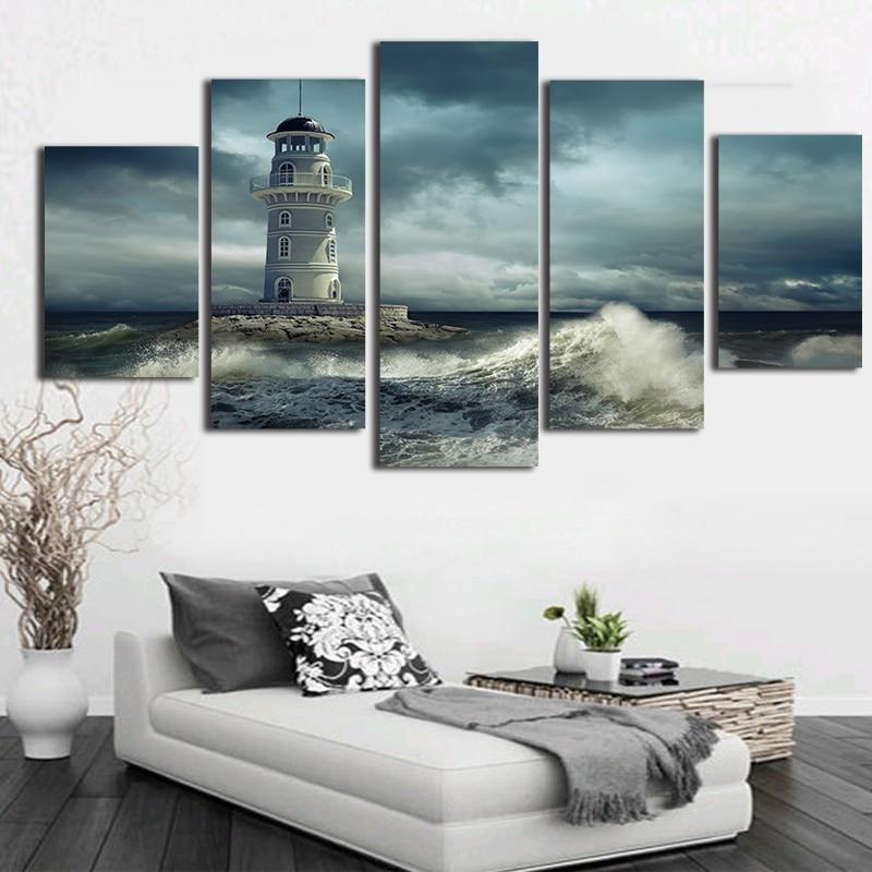 Casa de Lona Impressão Decoração Sala 5 Peças Farol Nublado Áspera Ondas Seascape Arte Da Parede Pinturas Cartazes Quadro Modular