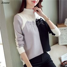 48 new autumn and winter Han edition knitting a turtleneck dress color matching pattern base sweater F2074 the cat Xnxee make more winter fashion knitting maternity dress render han edition mom gradient even clothes