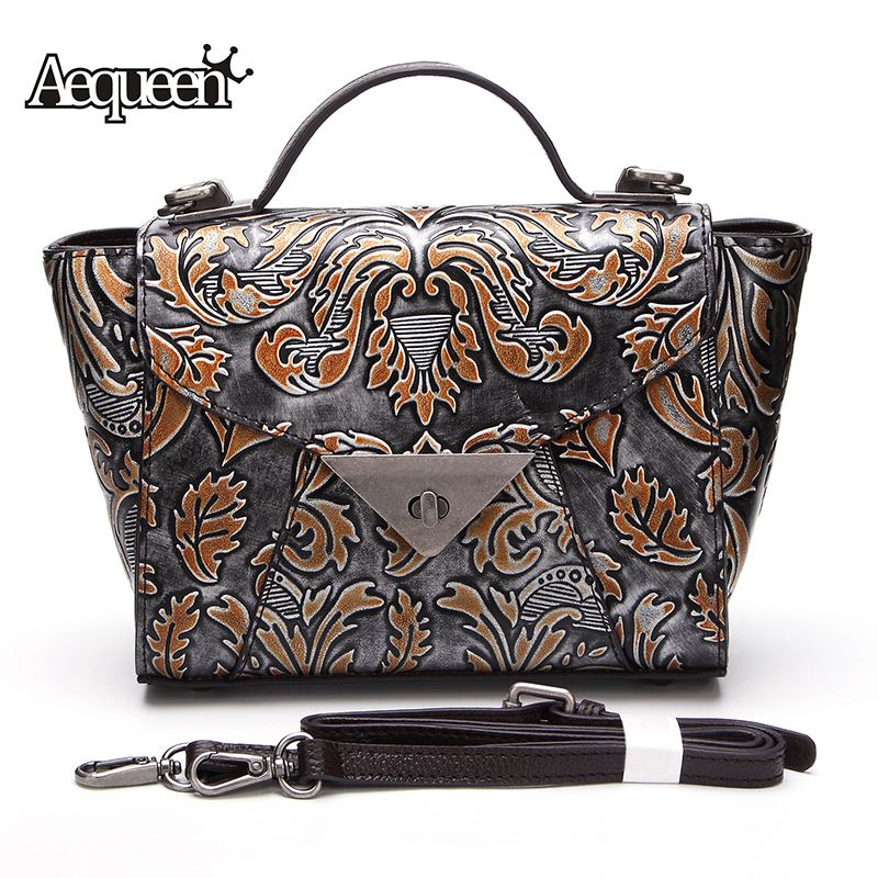 AEQUEEN 2018 Genuine Leather Trapeze Handbag Women Shoulder Bag Ladies Totes Floral Embossed Crossbody Bags Bolsa Random Color купить в Москве 2019