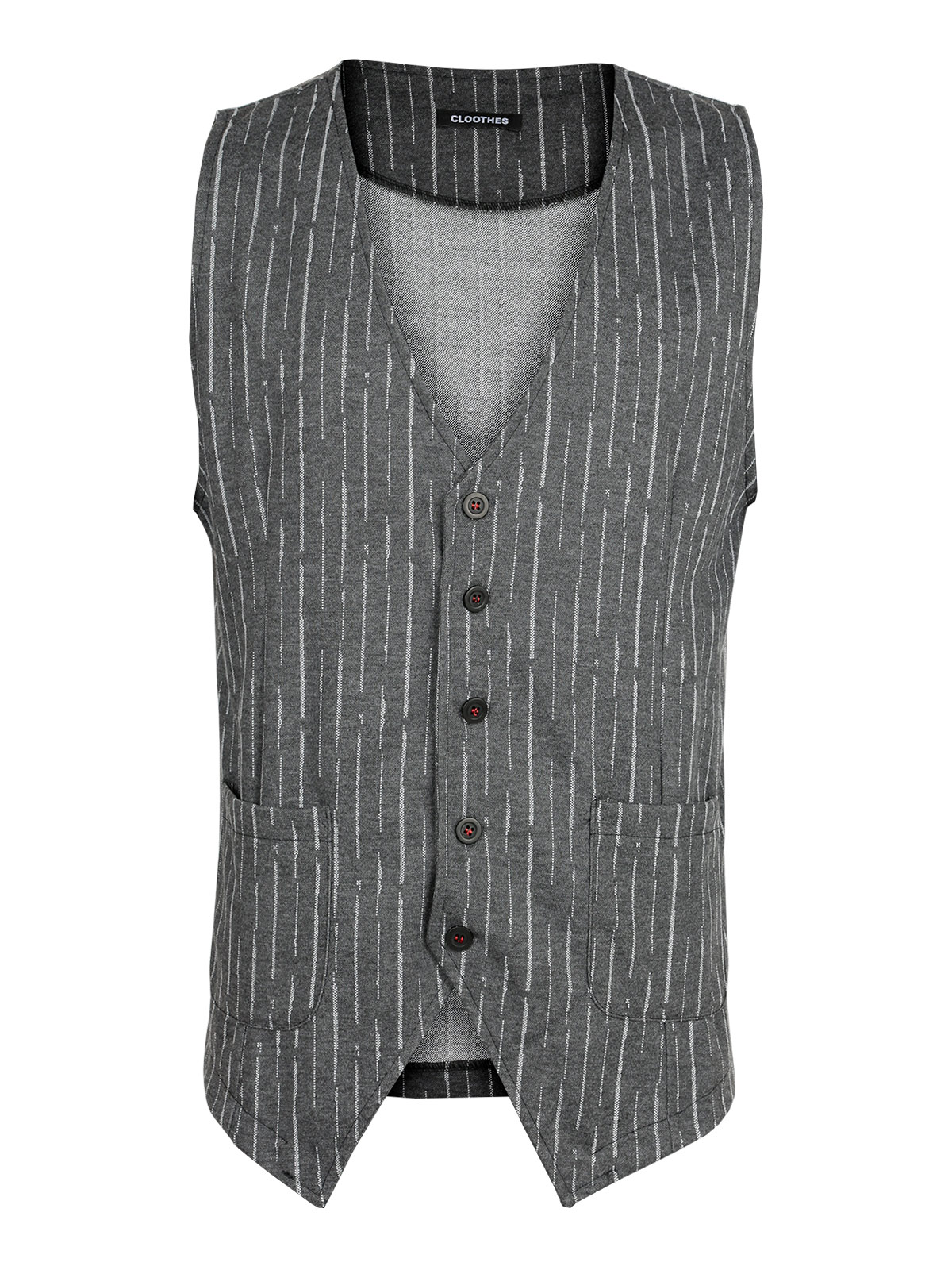 Gray Vest Striped With Pockets