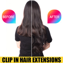 Clip in Hair Extensions Synthetic Wavy Hair Blonde Brown 19 Colors