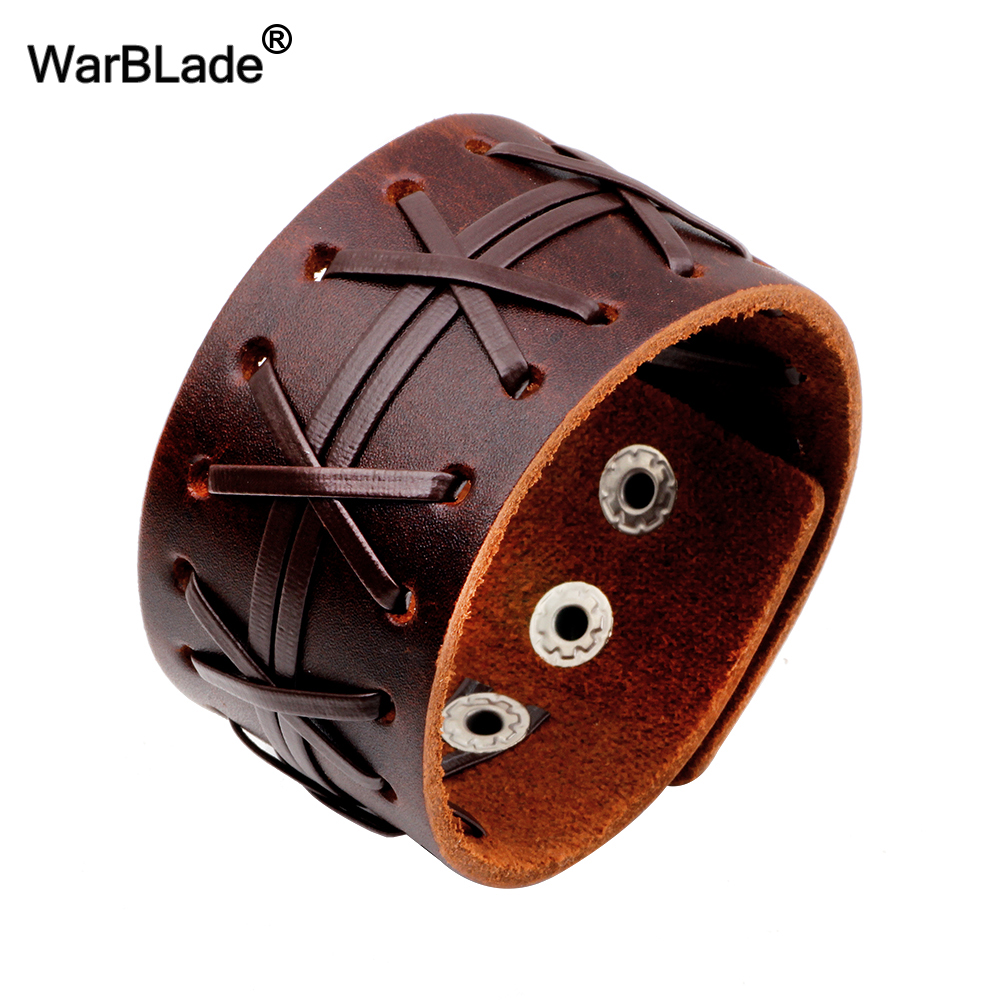 WarBLade 2018 New Fashion Men's Genuine Leather Wide Bracelets Bangles Men Wrap Bracelet Punk Cuff Wristband For Women Jewelry