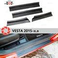 Для Lada Vesta 2015-пластина на дверных порогах пластик ABS шаг пластина внутренняя отделка Аксессуары защита потертости автомобиля Стайлинг украш...