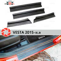 For Lada Vesta 2015- plate on door sills plastic ABS step plate inner trim accessories protection scuff car styling decoration