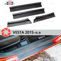 Lada vesta 2015-문턱에 플레이트 플라스틱 abs 스텝 플레이트 내부 트림 액세서리 보호 스커프 자동차 스타일링 장식