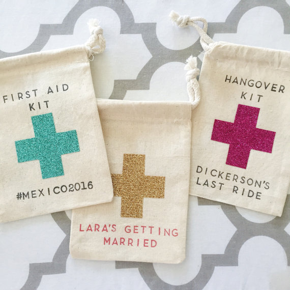 personalized text glitter Bachelorette Hangover recovery Survival Kit  wedding favor gift bags bridal shower party Candy a5713fb1eb80