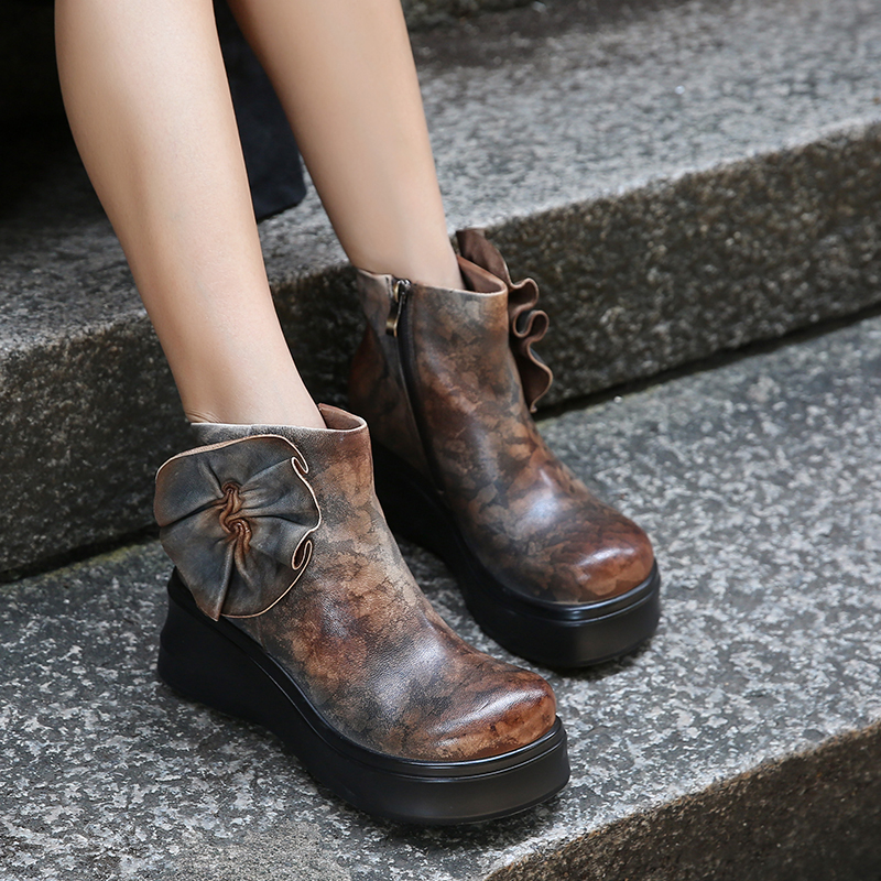 531353e80ee Latest Fungus Design Women Shoes Mixed Color Lady Ankle Booties Vintage  Natural Leather High Platform Wedge Female Boots-in Ankle Boots from Shoes  on ...