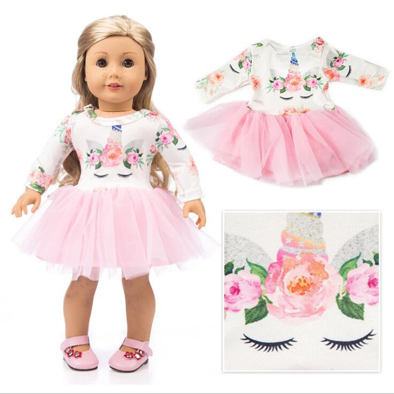 Fit 18 Inch 43cm Born New Baby American Doll Clothes Doll Unicorn Yarn Skirt Leaf Cake Skirt Girl Accessories For Baby Gift