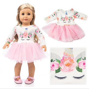 Fit 18 inch 43cm Born New Baby American Doll Clothes Doll Unicorn Yarn Skirt Leaf Cake Skirt Girl Accessories For Baby Gift(China)