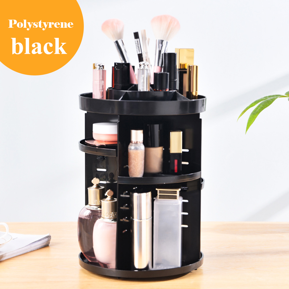 360° Rotating Adjustable Cosmetic Storage Display Holder Makeup Organizer Rack for Creams Brushes Lipsticks PS Transparent 1pcs in Makeup Organizers from Home Garden