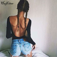 2017 Sexy Backless V Neck Bodysuit Women Ladies Bodycon Black Long Sleeve Combinaison Skinny Body Suit