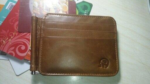 Nieuwe luxe retro hoge kwaliteit echt leer Bifold munten portemonnee en portemonnee Mannen kaarthouder Speciale ontwerp tas klem kaarthouder photo review