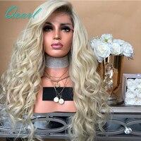 Мягкий светлый блондин Ombre Цвет бразильский человеческих волос Full парики шнурка с ребенком волос предварительно сорвал боковая часть свобо