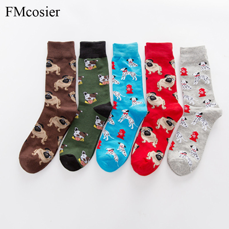 Men's Socks 5 Pairs A Lot Happy Socks Colorful Cotton Winter Funny Dress Mens Socks Brand Art Novelty Warm Socks Socken Herren 35 Below