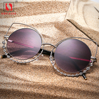 Vintage Sunglasses Women Retro Metal Frame Eyeglasses Gothic Steampunk Round Brand Designer Sun Glasses UV400