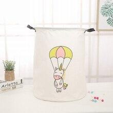 New Fabric Unicorn Storage Bucket Dance Horse Cotton Linen Laundry Basket