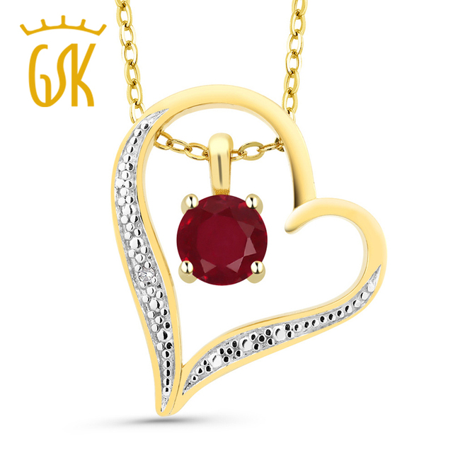 Round red ruby 18k 2 tone gold plated silver diamond accent heart round red ruby 18k 2 tone gold plated silver diamond accent heart pendant aloadofball Image collections