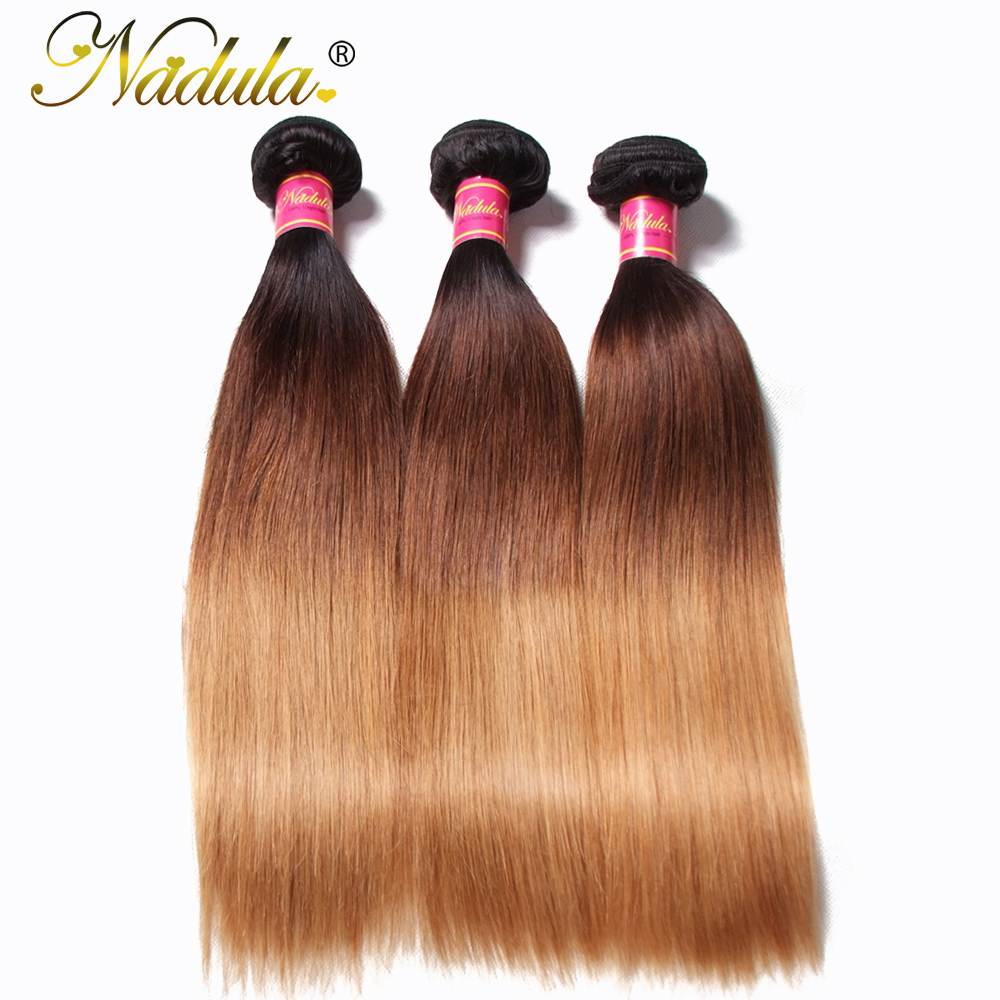 Nadula Hair Brazilian Straight Hair Weaves 3piece Lot Ombre Hair Bundles 100 Remy Human Hair Extensions