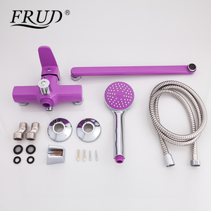 Image 5 - FRUD New Bathroom Shower Faucets set Colorful Bathtub Tap Wall Mounted Tap With Hand Shower Head robinet R22301/R22302/R22303
