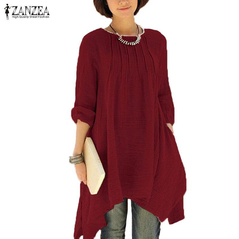 2018 ZANZEA Vintage Women Autumn O Neck Long Sleeve Asymmetrical Hem Solid Long Shirt Blouse Casual Loose Pleated Tops Plus Size
