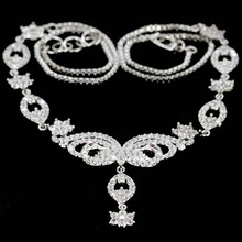 SheCrown Elegant White Sapphire Tourmaline CZ Womans Wedding Silver Necklace 17.5-18inch 55x47mm